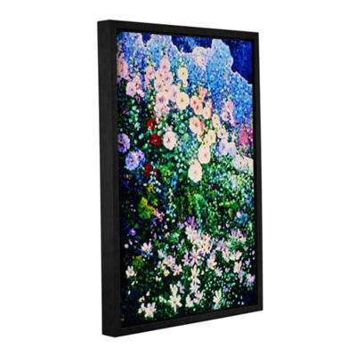 Brushstone Hollyhocks And Cosmos Gallery Wrapped Floater-Framed Canvas Wall Art
