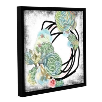 Brushstone Green Flowers Gallery Wrapped Floater-Framed Canvas Wall Art