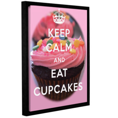 Brushstone Keep Calm And Eat Cupcakes Gallery Wrapped Floater-Framed Canvas Wall Art