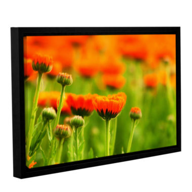Brushstone Marigolds Gallery Wrapped Floater-Framed Canvas Wall Art