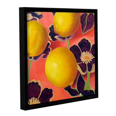 Brushstone Lemons On Persimmon Gallery Wrapped Floater-Framed Canvas Wall Art
