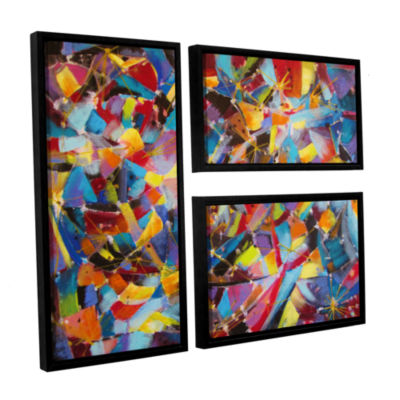 Brushstone Particle Collision 3-pc. Flag Floater Framed Canvas Wall Art