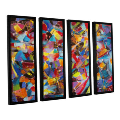 Brushstone Particle Collision 4-pc. Floater FramedCanvas Wall Art