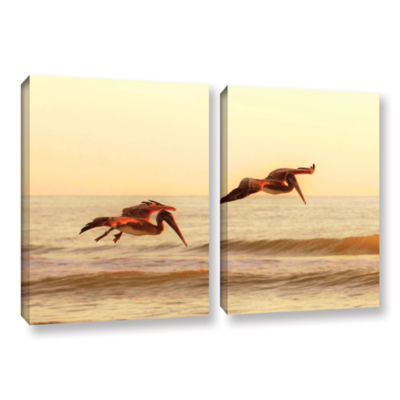 Brushstone Pelicans At Sunset 2-pc. Gallery Wrapped Canvas Wall Art