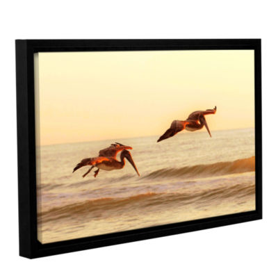 Brushstone Pelicans At Sunset Gallery Wrapped Floater-Framed Canvas Wall Art