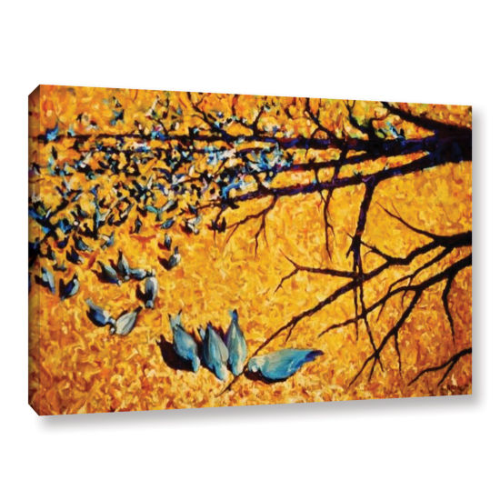 Brushstone Pigeons At Civic Park Gallery Wrapped Canvas Wall Art