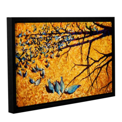 Brushstone Pigeons At Civic Park Gallery Wrapped Floater-Framed Canvas Wall Art
