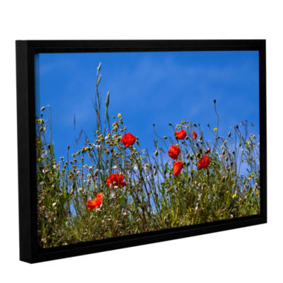 Brushstone Poppies On Bluesky Gallery Wrapped Floater-Framed Canvas Wall Art