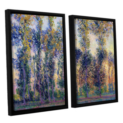 Brushstone Poplars At Giverny At Sunrise 2-pc. Floater Framed Canvas Wall Art