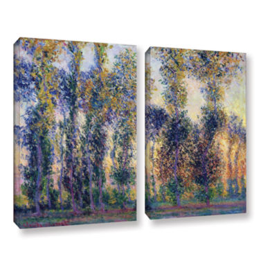 Brushstone Poplars At Giverny At Sunrise 2-pc. Gallery Wrapped Canvas Wall Art