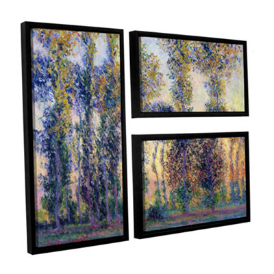 Brushstone Poplars At Giverny At Sunrise 3-pc. Flag Floater Framed Canvas Wall Art