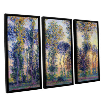 Brushstone Poplars At Giverny At Sunrise 3-pc. Floater Framed Canvas Wall Art