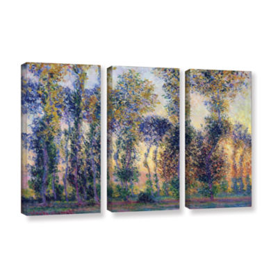 Brushstone Poplars At Giverny At Sunrise 3-pc. Gallery Wrapped Canvas Wall Art