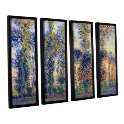 Brushstone Poplars At Giverny At Sunrise 4-pc. Floater Framed Canvas Wall Art