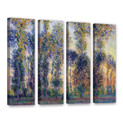 Brushstone Poplars At Giverny At Sunrise 4-pc. Gallery Wrapped Canvas Wall Art