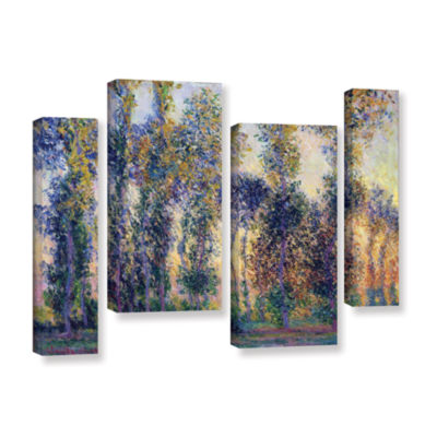 Brushstone Poplars At Giverny At Sunrise 4-pc. Gallery Wrapped Staggered Canvas Wall Art