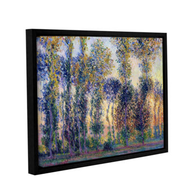 Brushstone Poplars At Giverny At Sunrise Gallery Wrapped Floater-Framed Canvas Wall Art