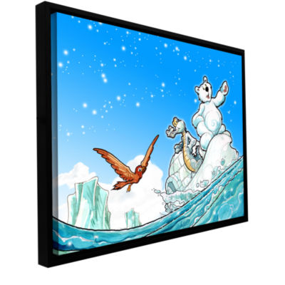 Brushstone Polar 1 Gallery Wrapped Floater-FramedCanvas Wall Art