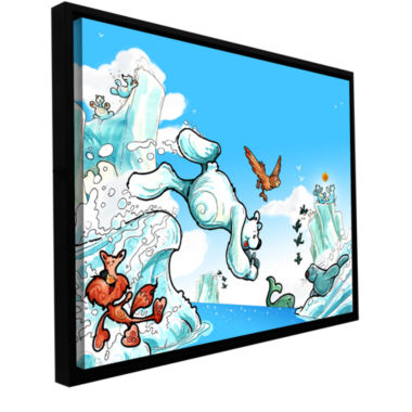Brushstone Polar 2 Gallery Wrapped Floater-FramedCanvas Wall Art