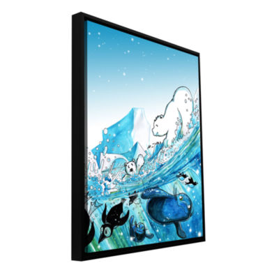 Brushstone Polar 7 Gallery Wrapped Floater-FramedCanvas Wall Art