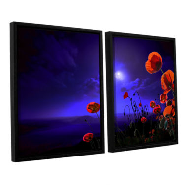 Brushstone Poppies Blue 2-pc. Floater Framed Canvas Wall Art