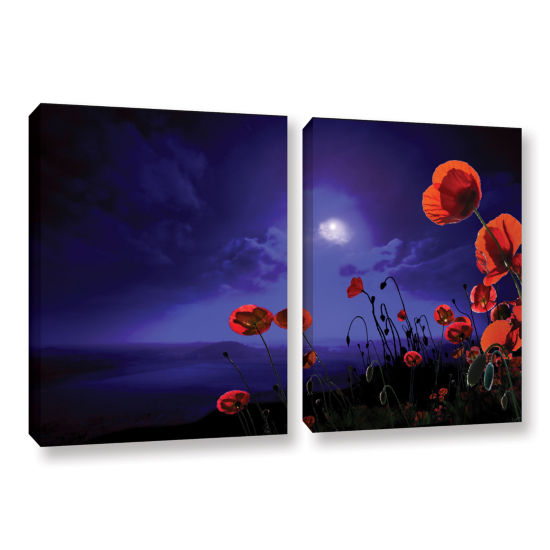 Brushstone Poppies Blue 2-pc. Gallery Wrapped Canvas Wall Art