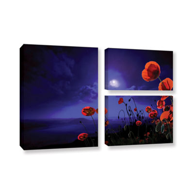 Brushstone Poppies Blue 3-pc. Flag Gallery WrappedCanvas Wall Art