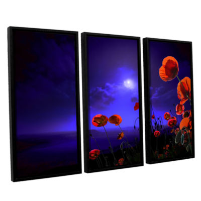 Brushstone Poppies Blue 3-pc. Floater Framed Canvas Wall Art