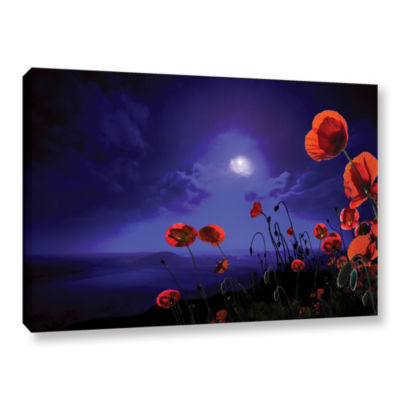 Brushstone Poppies Blue Gallery Wrapped Canvas Wall Art