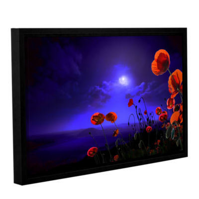 Brushstone Poppies Blue Gallery Wrapped Floater-Framed Canvas Wall Art