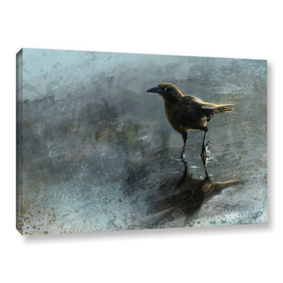 Brushstone Bird in a Puddle Gallery Wrapped Canvas Wall Art