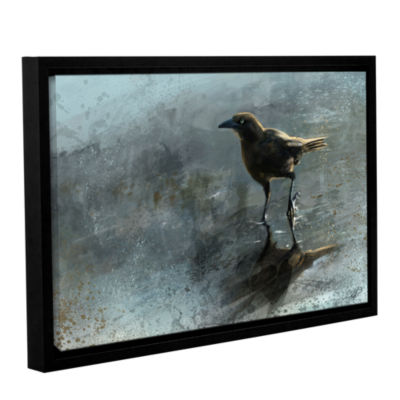 Brushstone Bird in a Puddle Gallery Wrapped Floater-Framed Canvas Wall Art