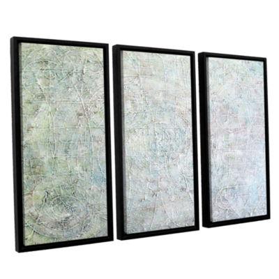 Brushstone White Spirals 3-pc. Floater Framed Canvas Wall Art