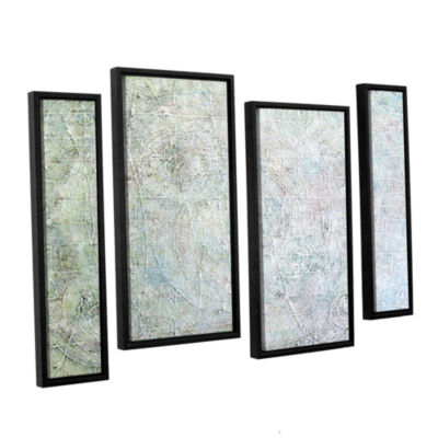 Brushstone White Spirals 4-pc. Floater Framed Staggered Canvas Wall Art