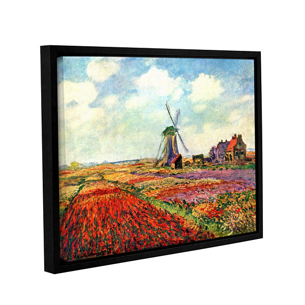 Brushstone Windmill by Claude Monet Gallery Wrapped Floater-Framed Canvas Wall Art
