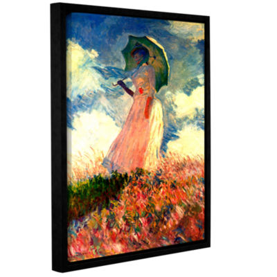 Brushstone Woman With Sunshade by Claude Monet Gallery Wrapped Floater-Framed Canvas Wall Art