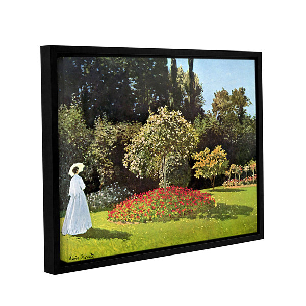 Brushstone Woman In Park With Poppies by Claude Monet Gallery Wrapped Floater-Framed Canvas Wall Art