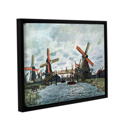 Brushstone Windmills by Claude Monet Gallery Wrapped Floater-Framed Canvas Wall Art
