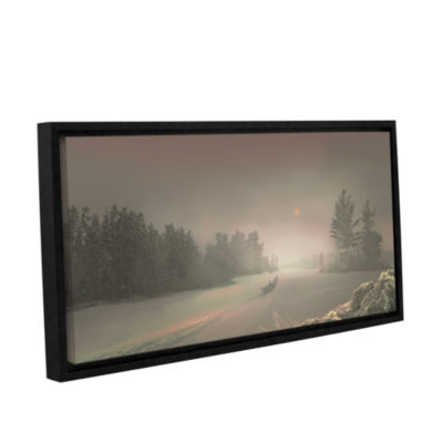 Brushstone Winter Sunset Gallery Wrapped Floater-Framed Canvas Wall Art