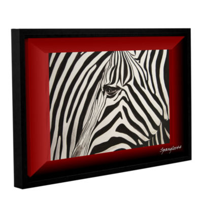 Brushstone Zebras Abstract Gallery Wrapped Floater-Framed Canvas Wall Art