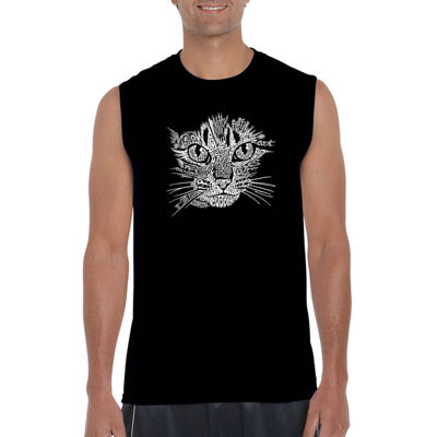 Los Angeles Pop Art Catface Sleeveless Word Art T-Shirt