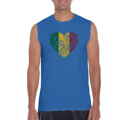 Los Angeles Pop Art One Love Heart Sleeveless WordArt T-Shirt