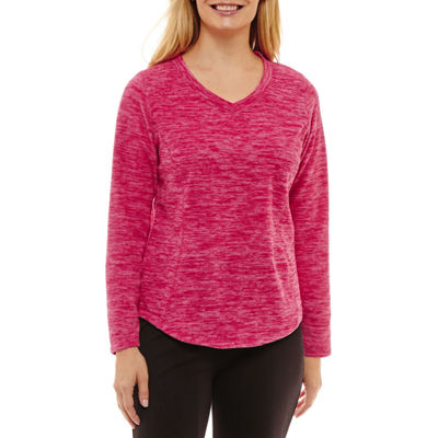 St. John's Bay Active Womens V Neck Long Sleeve Sweatshirt