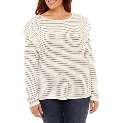 a.n.a Long Sleeve Ruffle Pullover Sweater - Plus