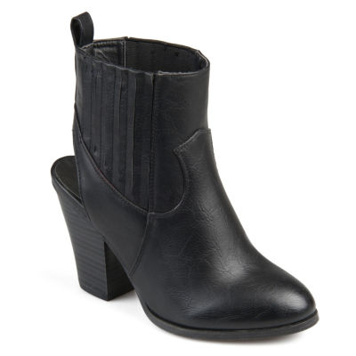 Journee Collection Womens Neri Booties Stacked Heel Pull-on