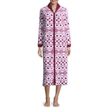 Comfort and Co. Coral Fleece Zip Print Plush Robe