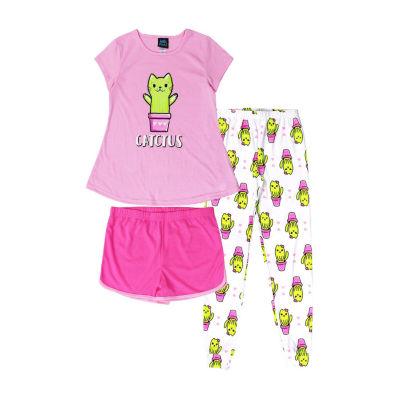 Jelli Fish Kids Catctus 3pc. Pant Pajama Set - Girls