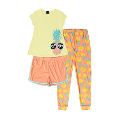 Jelli Fish Kids Pineapple 3pc Pant Pajama Set - Girls