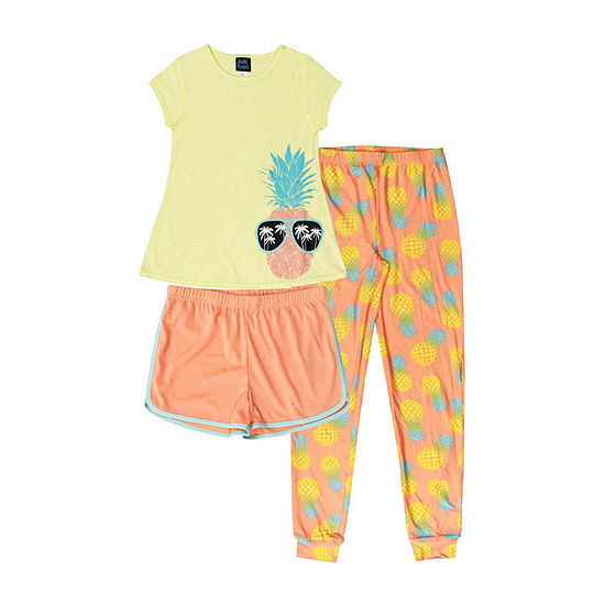 Jelli Fish Kids Pineapple 3pc Pant Pajama Set Girls