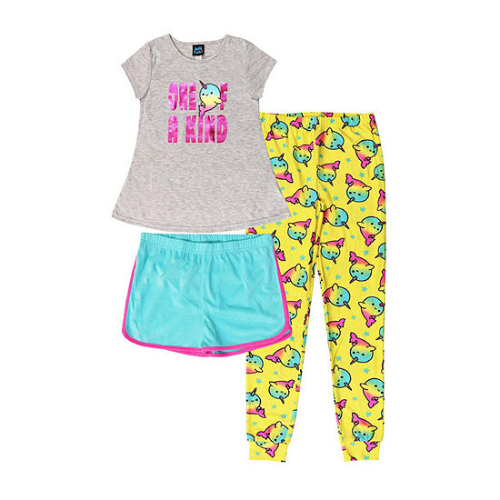 Jelli Fish Kids Narwhal 3pc Pant Pajama Set - Girls